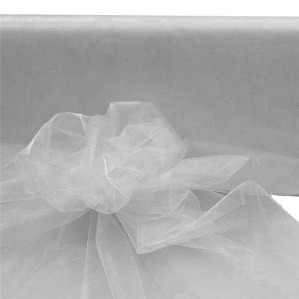 "54"" x 40 Yards Silver Sheer Organza Fabric Bolt"