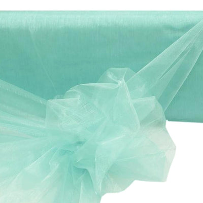 "TURQUOISE Crystal Sheer Organza Wedding Party Dress Fabric Bolt - 54"" x 40 Yards"