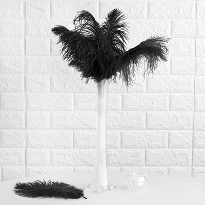"12 Pack | 13""-15"" Black Natural Ostrich Plumes Wholesale"