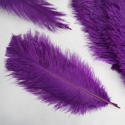 "12 Pack | 13""-15"" Purple Natural Plume Ostrich Feathers Centerpiece"