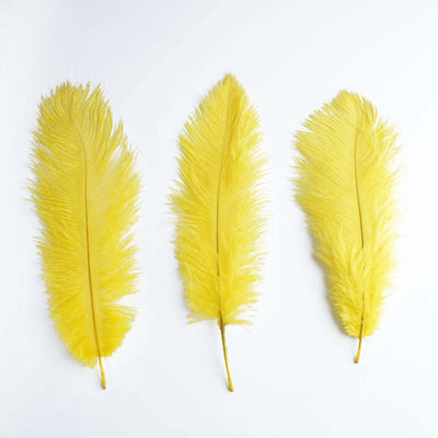 "13""-15"" Fabulous Natural Ostrich Feathers-12PCS - Yellow"
