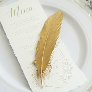 30 Pack | Metallic Gold Natural Goose Feathers For Craft Party Decoration