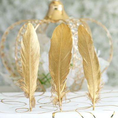30 Pack | Metallic Gold Natural Goose Feathers | Craft Feathers for Party Decoration
