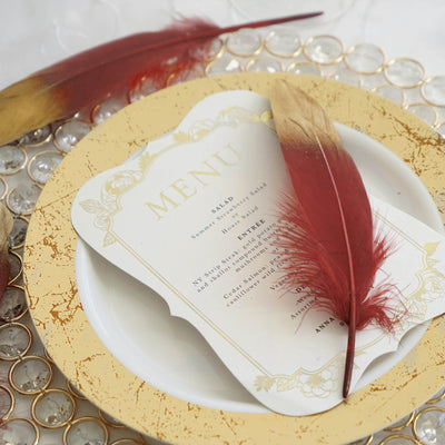 30 Pack | Metallic Gold Dipped Burgundy Real Goose Feathers | Craft Feathers for Party Decoration