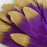 30 Pack | Metallic Gold Dipped Purple Real Goose Feathers | Craft Feathers for Party Decoration