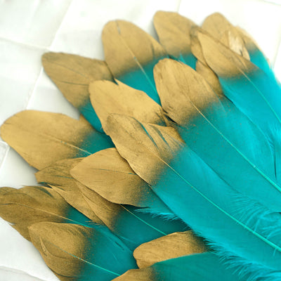 30 Pack | Metallic Gold Dipped Turquoise Real Goose Feathers | Craft Feathers for Party Decoration