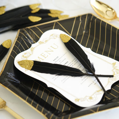 30 Pack | Glitter Gold Tip Black Real Turkey Feathers | Craft Feathers for Party Decoration