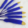 30 Pack | Glitter Gold Tip Royal Blue Real Turkey Feathers | Craft Feathers for Party Decoration