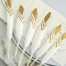 30 Pack | Metallic Gold Chevron Tip White Real Goose Feathers For Craft Party Decoration