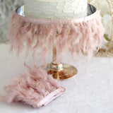 "39"" Dusty Rose Real Turkey Feather Fringe Trims With Satin Ribbon Tape"