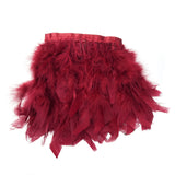 "39"" Burgundy Real Turkey Feather Fringe Trims With Satin Ribbon Tape"