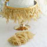 "39"" Gold Real Turkey Feather Fringe Trims With Satin Ribbon Tape"