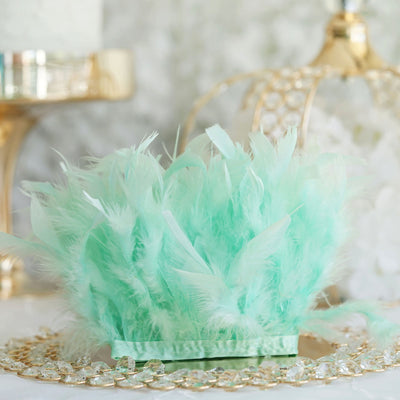 "39"" Mint Real Turkey Feather Fringe Trims With Satin Ribbon Tape"
