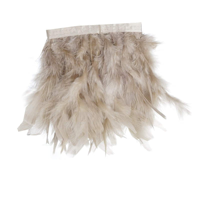 "39"" Natural Real Turkey Feather Fringe Trims With Satin Ribbon Tape"