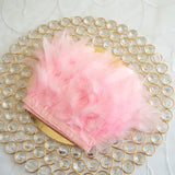 "39"" Pink Real Turkey Feather Fringe Trims With Satin Ribbon Tape"