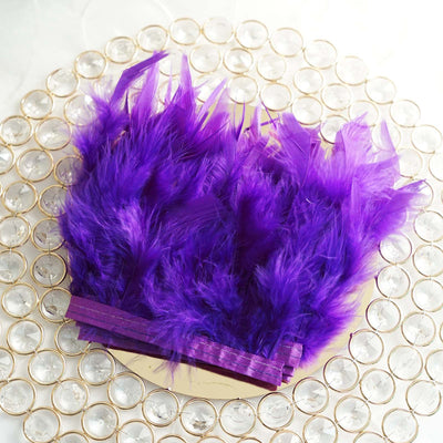 "39"" Purple Real Turkey Feather Fringe Trims With Satin Ribbon Tape"