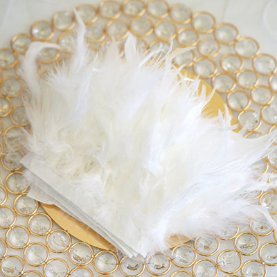 "39"" White Real Turkey Feather Fringe Trims With Satin Ribbon Tape"
