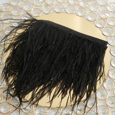 "39"" Black Real Ostrich Feather Fringe Trims With Satin Ribbon Tape"
