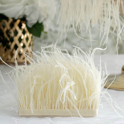 "39"" Ivory Real Ostrich Feather Fringe Trims With Satin Ribbon Tape"