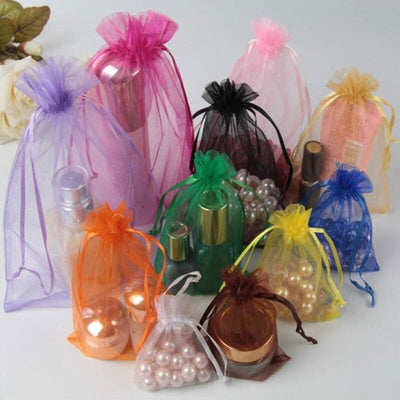 "10 Pack | 3""x4"" Black Organza Favor Bags Party Drawstring Pouches"
