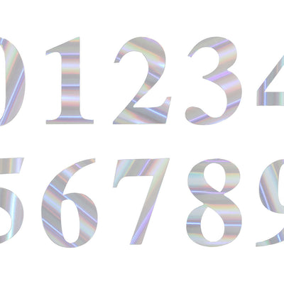 "4 Pack - 5"" Iridescent Number Stickers Banner, Customizable Stick on Numbers - 9"