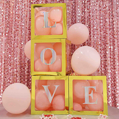 4 Pack Iridescent Pre-punched Decorative Letters with Glue Dots