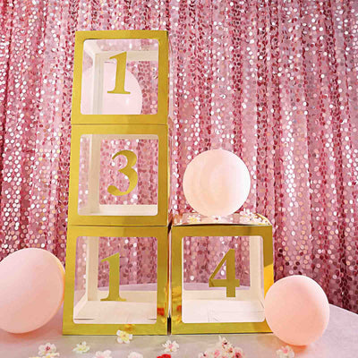 4 Pack | 5 Inch | Gold Pre-punched Decorative Letters with Glue Dots - 0 | tableclothsfactory