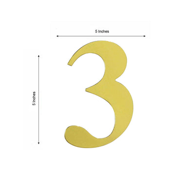 "4 Pack - 5"" Metallic Gold Number Stickers Banner, Customizable Stick on Gold Numbers - 3"
