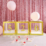 4 Pack | 5 Inch | Gold Pre-punched Decorative Letters with Glue Dots - 5 | tableclothsfactory