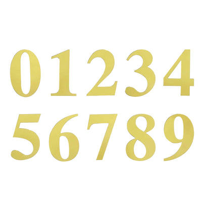 4 Pack | 5 Inch | Gold Pre-punched Decorative Letters with Glue Dots - 7 | tableclothsfactory
