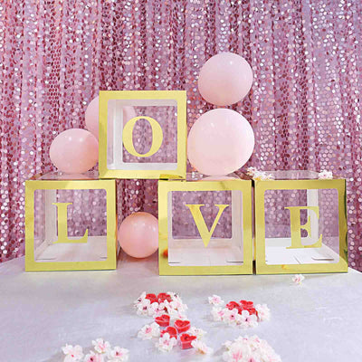 4 Pack Gold Pre-punched Decorative Letters with Glue Dots