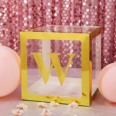 4 Pack | 5 Inch | Gold Pre-punched Decorative Letters with Glue Dots - W | tableclothsfactory