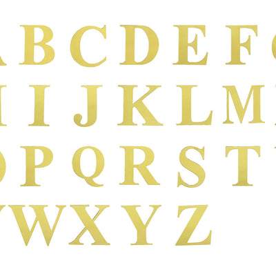 "4 Pack - 5"" Metallic Gold Alphabet Stickers Banner, Customizable Stick on Gold Letters - W"