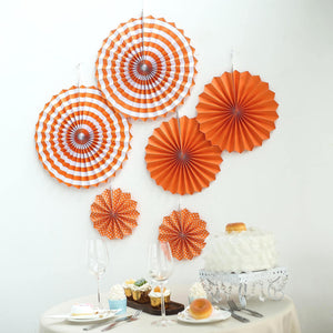 Set of 6 | Orange Paper Fan Decorations | Paper Pinwheels Wall Hanging Decorations Party Backdrop Kit | 8"