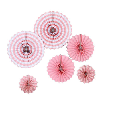 Set of 6 | Pink Paper Fan Decorations | Paper Pinwheels Wall Hanging Decorations Party Backdrop Kit | 8"