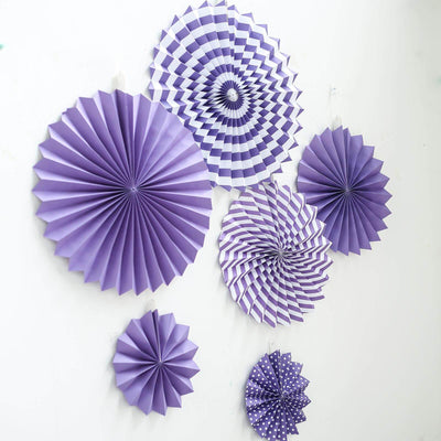 Set of 6 | Purple Paper Fan Decorations | Paper Pinwheels Wall Hanging Decorations Party Backdrop Kit | 8"