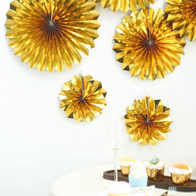 Set of 6 | Metallic Gold Paper Fan Decorations | Paper Pinwheels Wall Hanging Decorations Party Backdrop Kit | 8"
