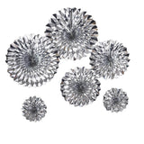 Set of 6 | Metallic Silver Paper Fan Decorations | Paper Pinwheels Wall Hanging Decorations Party Backdrop Kit | 8"