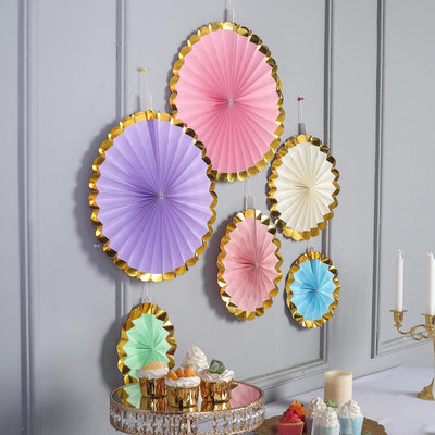 Set of 6 | Assorted Paper Fan Decorations with Gold Foil Rim | Paper Pinwheels Wall Hanging Decorations Party Backdrop Kit | 8"