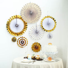 Set of 8 | Gold | White Paper Fan Decorations | Paper Pinwheels Wall Hanging Decorations Party Backdrop Kit | 4"