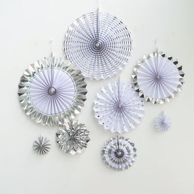 Set of 8 | Silver | White Paper Fan Decorations | Paper Pinwheels Wall Hanging Decorations Party Backdrop Kit | 4"