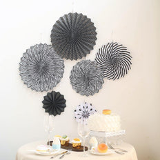 Set of 6 | Black | White Paper Fan Decorations | Paper Pinwheels Wall Hanging Decorations Party Backdrop Kit | 8"