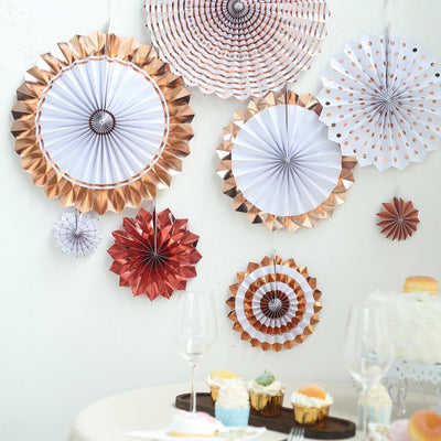 Set of 8 | Rose Gold | Gold Paper Fan Decorations | Paper Pinwheels Wall Hanging Decorations Party Backdrop Kit | 4"