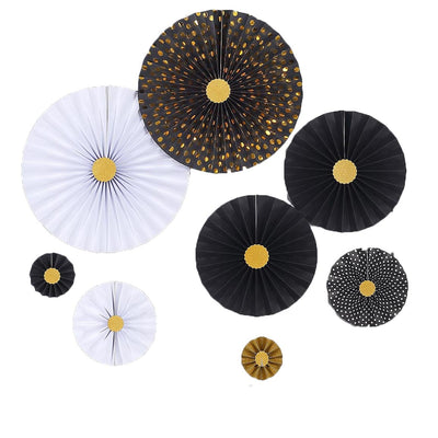 Set of 8 | Gold | White | Black Paper Fan Decorations | Paper Pinwheels Wall Hanging Decorations Kit