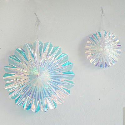 "2 Pack | 3D Foil Iridescent Hanging Snowflakes | Rainbow Snowflake Decorations |  6"" & 12"""
