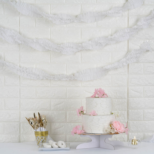 3 Rolls - 28FT White Ruffled Paper Strand | Streamer Backdrop - DIY Tissue Paper Garland Hanging Decorations