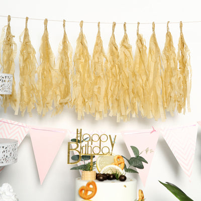 12 PCS Tissue Paper Balloon Tassel Garlands - Champagne