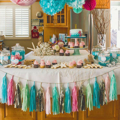 12 PCS Turquoise Pre-Tied Paper Tassel Tissue Garland