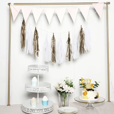 12 PCS Tissue Paper Balloon Tassel Garlands - Metallic Gold