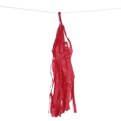 12 PCS Red Pre-Tied Paper Tassel Tissue Garland
